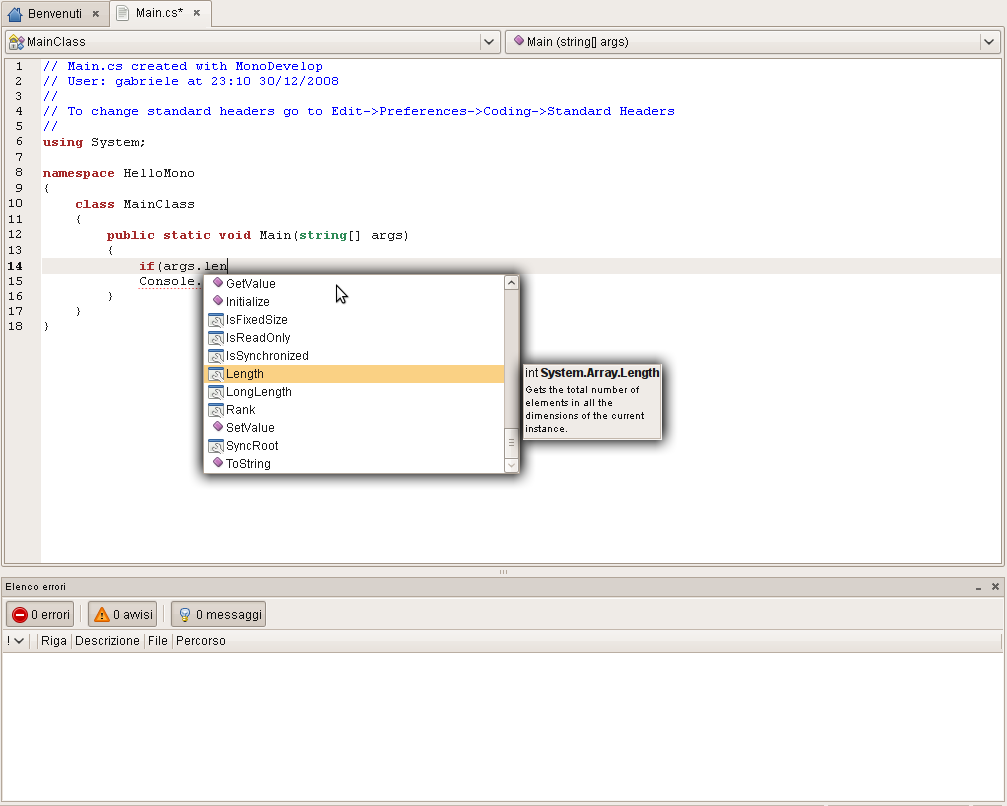 [monodevelop intellisense]